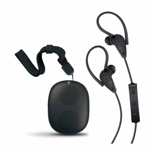 Black iSound 2-in-1 Wireless Bluetooth Stereo Earbuds and Speaker Kit Bundle