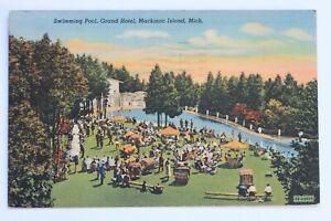 Linen Postcard Swimming Pool Grand Hotel Mackinac Island Michigan 1942 Ebay