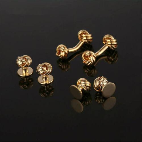 Stylish Gentleman Retro Silver//Gold Plated Knot Men Wedding Cufflinks Studs Set