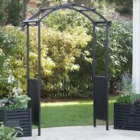 Black Pergola Arched Top Garden Arbor Outdoor Home Living Furniture Structure