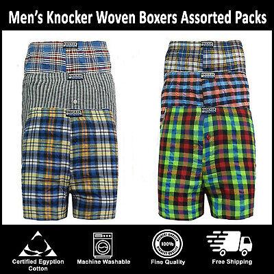 Classic Sports 6 12 Mens Woven Check Print Cotton Boxer Shorts Plain Trunks lot