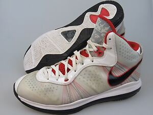 c13d13b4c5b14 NIKE Air Max Lebron James VIII 429676 White Red 2010 Basketball ...