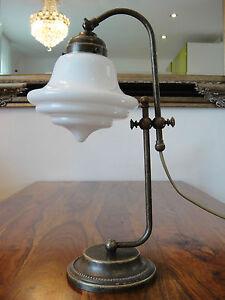 Tischlampe-Jugendstil-Antik-Lampe-Tischleuchte-Schreibtischlampe-Messing-Glas