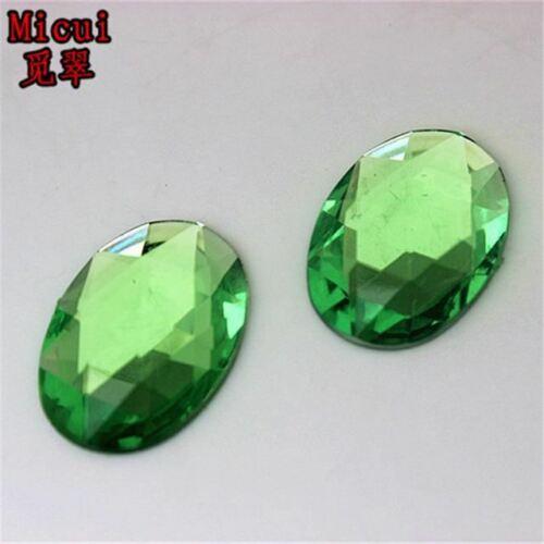 Micui 100PCS 18*25mm Oval Acrylic Rhinestones Flatback Crystals Stones For Cloth