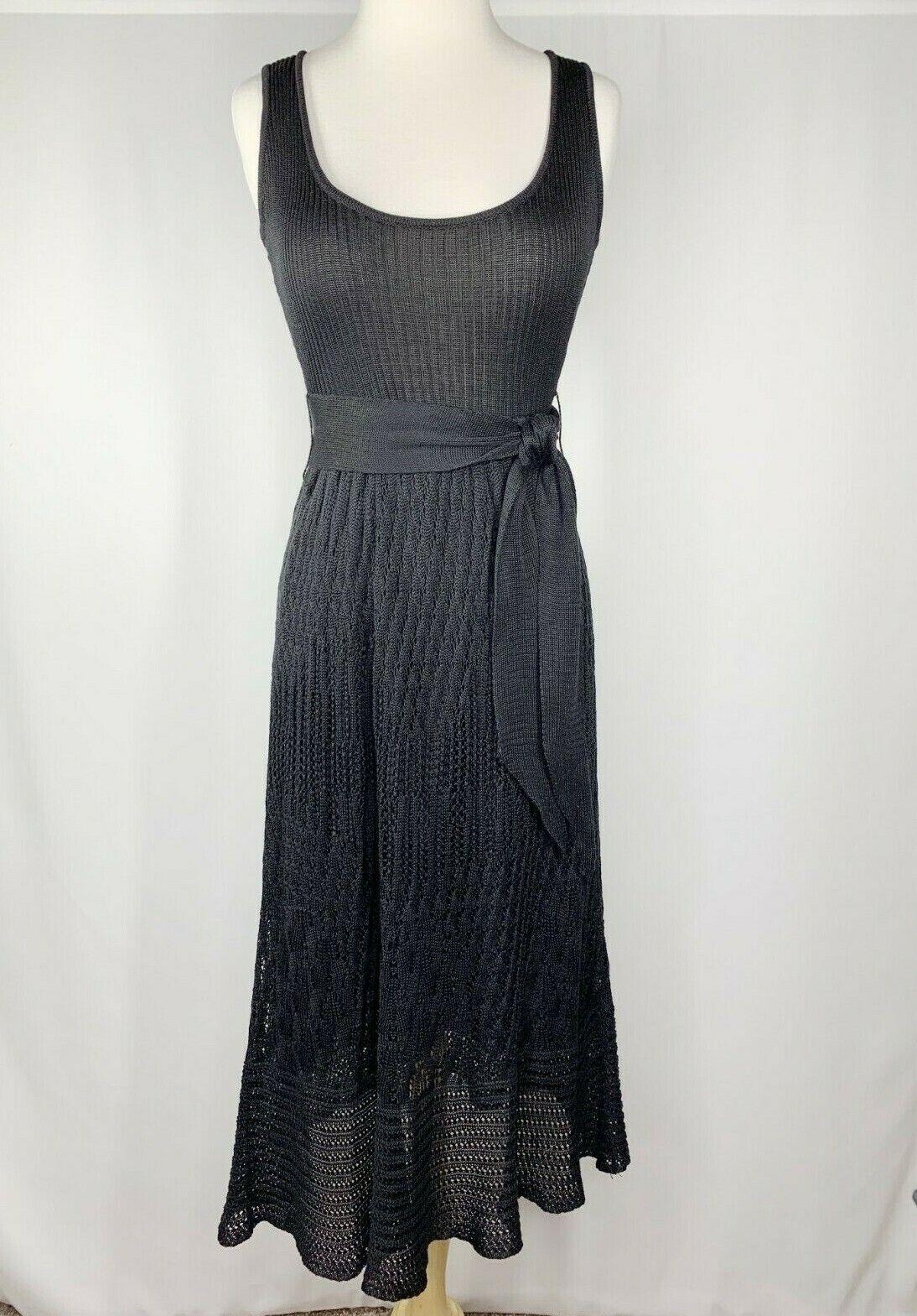Catherine Malandrino damen Sz 0 schwarz Cotton Crochet Tank Midi Dress Lined Belt