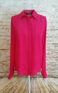 ATMOSPHERE-Womens-Dark-Pink-Long-Sleeve-Chiffon-Style-Collared-Blouse-Size-10