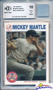1997-SB-61-Mickey-Mantle-w-WORN-SHIRT-BECKETT-10-MINT-GGUM-Yankees