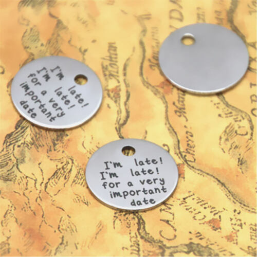 10pcs//lot I/'m late for a very important date silver tone charm 20mm I/'m late