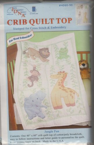 """1 Jack Dempsey /""""Jungle Fun/"""" Stamped XStitch-Embroidery Crib Quilt Top"""