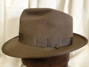 716a644cc46 Vintage Bond Airlite Royal Quality Mens Light Brown Fur Felt Fedora ...