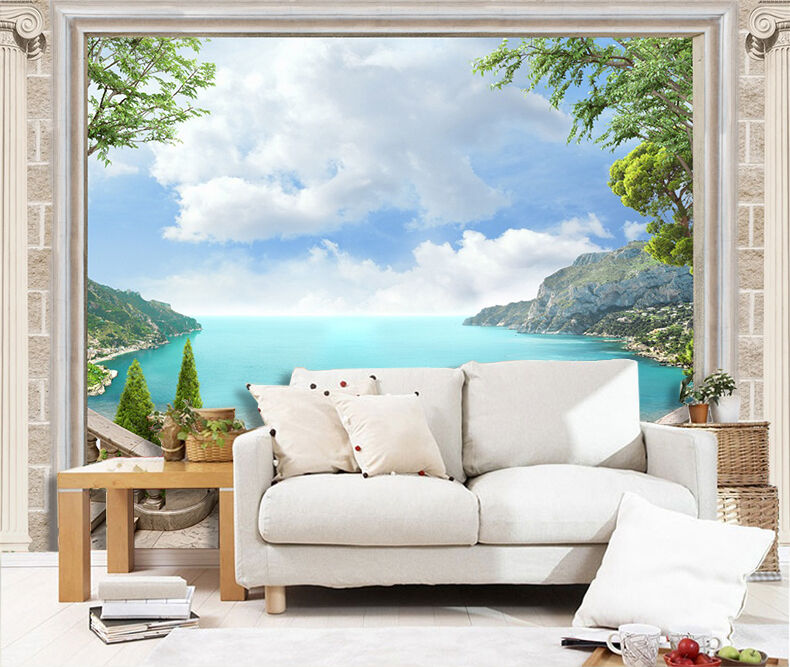 3D ocean mountain scenery Wall Paper Print Decal Wall Deco Indoor wall Mural