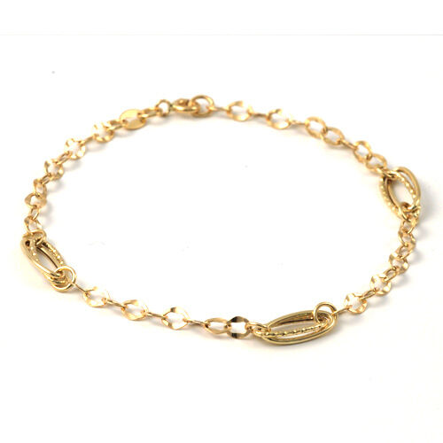 """20cm women MADE IN ITALY Curved cable bracelet ITALIAN Solid Yellow Gold 18K 8/"""""""