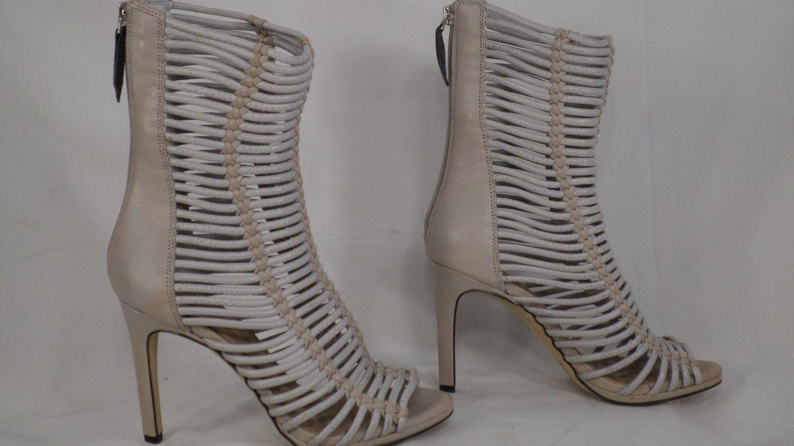 BCBGMAXAZARIA 'Ledder' Light Gray Caged Leder Bootie Sandale Damens Größe 5.5 M