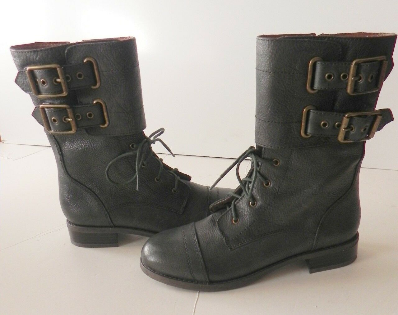 Lucky Brand Glora Green Military Mid Calf Leder Lace-up Stiefel 7