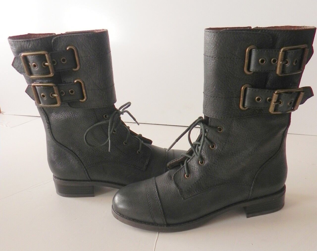 Lucky Brand Glora Green Lace-up Military Mid Calf Leder Lace-up Green Stiefel 7 2a2958