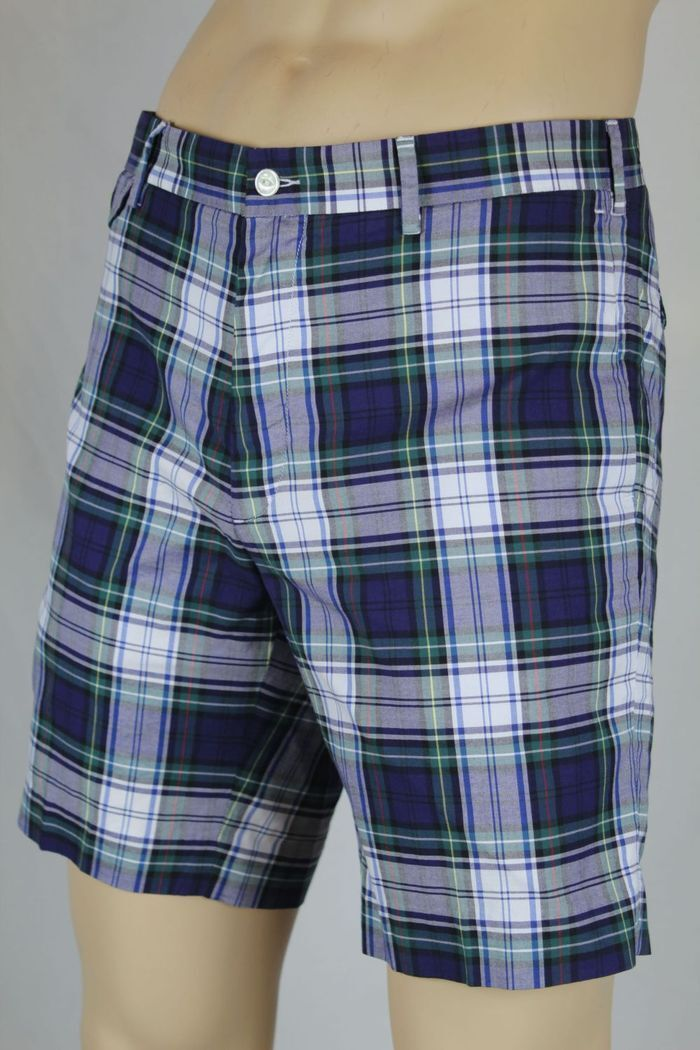 Polo Ralph Lauren bluee Green White Red Plaid Slim G.I. Fit Shorts NWT 40