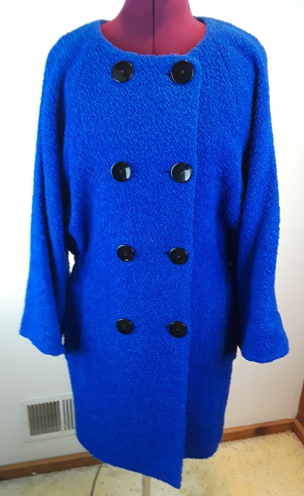 NEW  FRENCH CONNECTION Electric bluee Bubbly Bounce Collarless Coat Size12