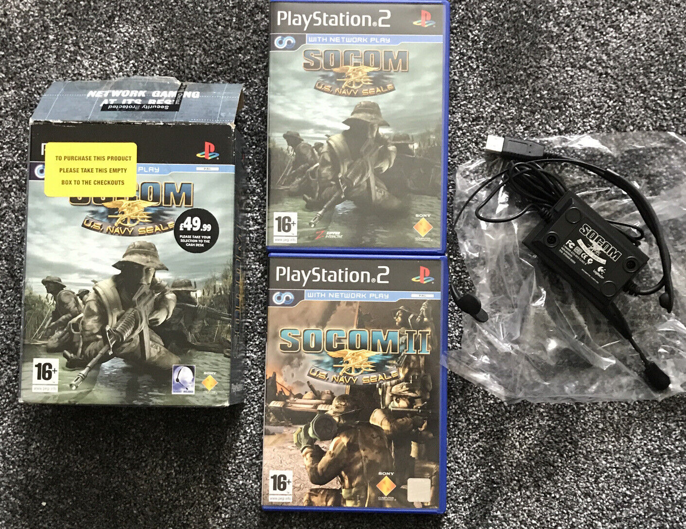 Playstation 2. PS2 Socom - U.S. Navy Seals 1 + 2 Bundle Comes with Boxed Headset