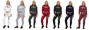 2 Piece Ladies Joggers Set Hooded Cropped Sweatshirt with Elasticated Waist