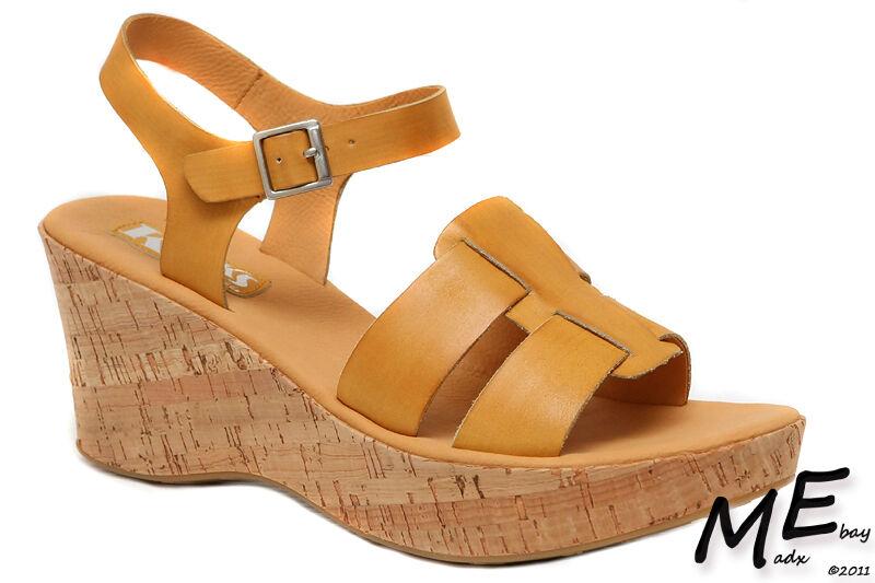 New Korks by Kork-Ease Brie Wedge femmes Leather Sandals Taille 9 (MSRP  110)Ocra