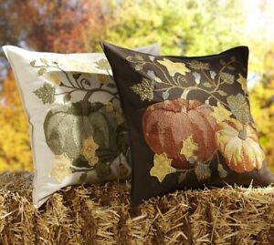 Pottery-Barn-PUMPKIN-PATCH-CREWEL-EMBROIDERED-Pillow-Cover-20-Sq-FALL-NWOT