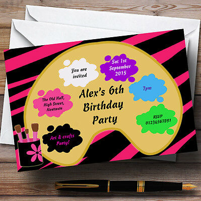Arts And Crafts Painting Party Personalised Birthday Party Invitations TH103