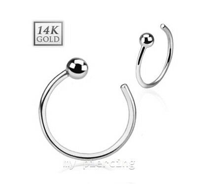 "Modest 14kt Solid White Gold Nose Hoop Ring With 2mm Ball Top 20g 18g Jewelry Sets 5/16"" 3/8"" Warm And Windproof"