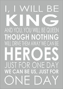Heroes david bowie typography word words song lyric lyrics wall image is loading heroes david bowie typography word words song lyric publicscrutiny Choice Image