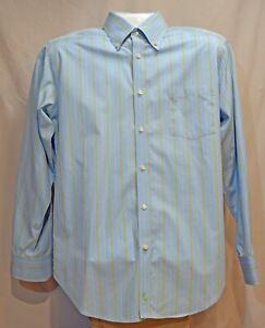 Mens-Tailorbyrd-Long-Sleeve-Cotton-Dress-Shirt-Sz-Large-Blue-amp-White-Stripe-EUC