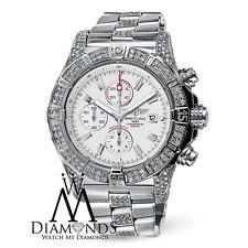 Mens Breitling Super Avenger A13370 White Dial Watch Diamond Bezel, Case, Lugs