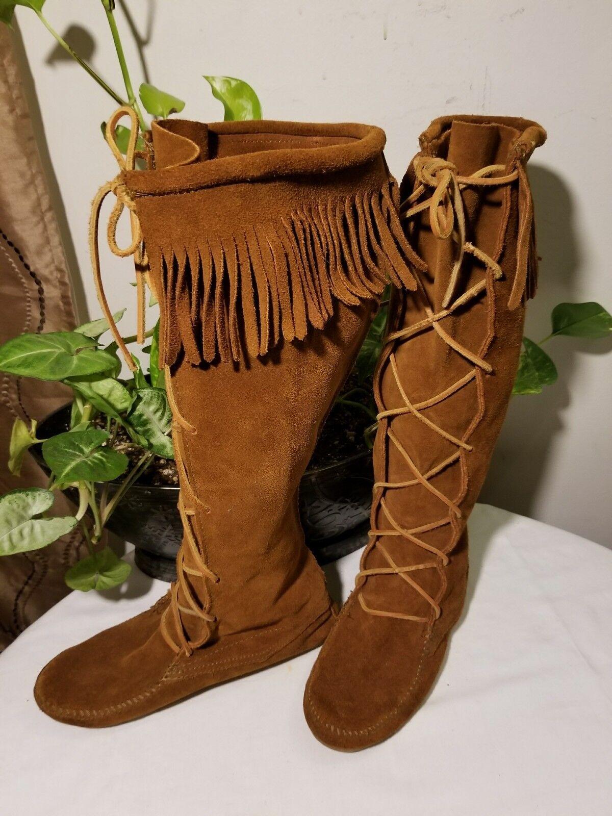 Minnetonka roya parda Flecos de Gamuza Mocasín rodilla alta botas talla 7