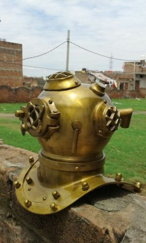 OLD Brass Scuba Mini Diving Divers Helmet US Navy Mark V Steel Vintage AS25F
