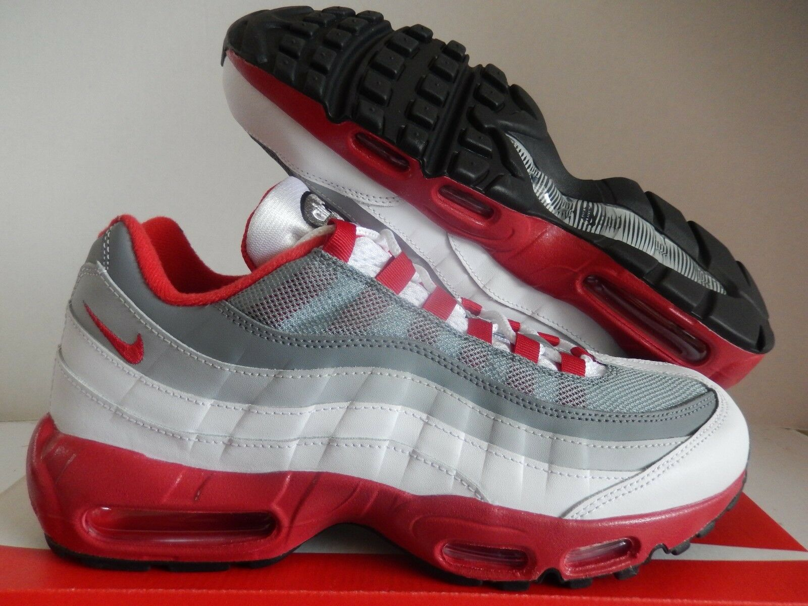 6147117f7f NIKE AIR MAX 95 ID GREY-RED-WHITE SZ 9.5 [818592-995] MENS  ntifcr6627-Athletic Shoes