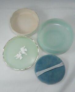 Vtg-Avon-Powder-Jar-034-Rapture-Beauty-Dust-034-6-oz-Green-Doves-Dresser-Box-w-Puff