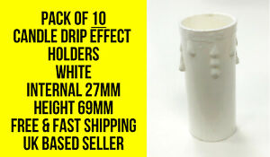 Set-of-10-candle-tubes-white-plastic-with-drips-69mm-high-x-27mm-wide-internal