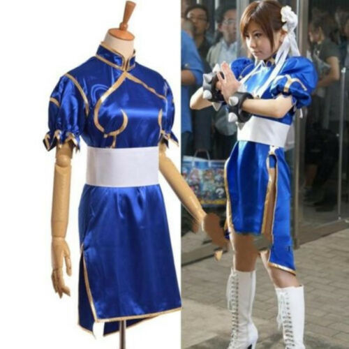 Street Fighter Chun Li Blue Dress Adult Kids Halloween Cosplay Costume