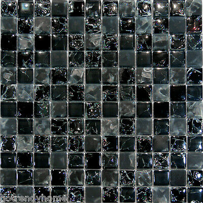 Sample-Black Crackle & Matte Glass Mosaic Tile Kitchen Backsplash Spa Sink Wall