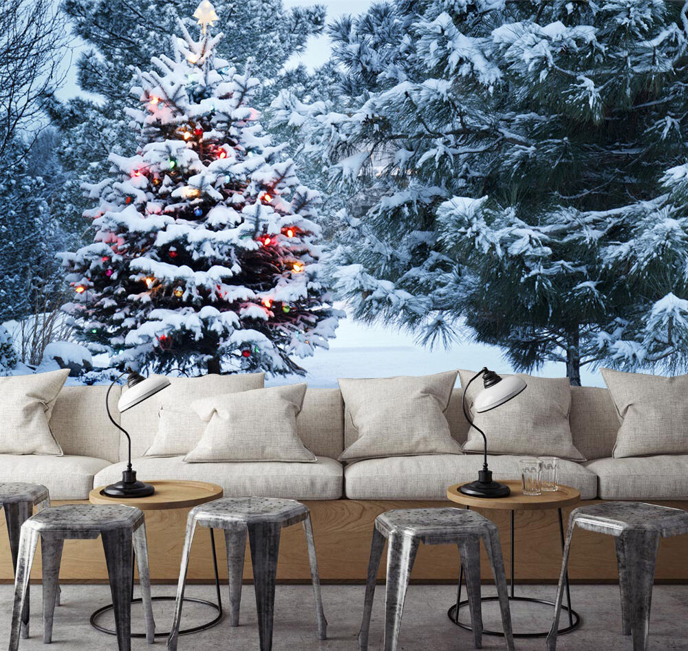 3D Snowing Christmas tree Wall Paper Print Decal Wall Deco Indoor wall Mural