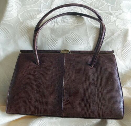 Marquessa vintage rich brown reptile skin kelly style handbag excellent conditio