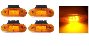 4x-24V-SMD-9-LED-Arancio-Luci-Ingombro-laterali-amp-Supporto-CAMION-RIMORCHIO