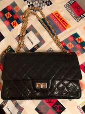 CHANEL VINTAGE 2.55 Double Flap Bag Gold Hardware Dark Brown Quilted