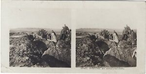 Grande Guerre Trench IN Construction WW1 Foto Stereo Vintage Analogica
