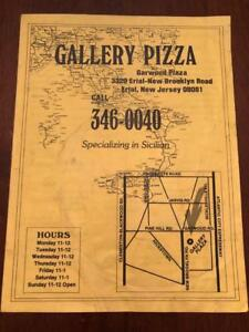 Details about Old Restaurant Menu- Gallery Pizza- Erial, NJ