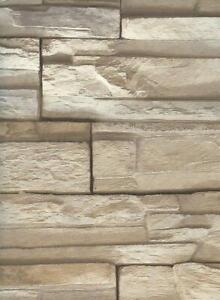 Wallpaper-Faux-Stacked-Stone-Brick-Rock-Taupe-Tan-Heavy-Duty-Textured-Vinyl