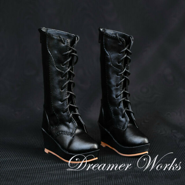 1//3 SD BJD Shoes Spliced Military Boots Lace-up Removable Chains Black /& Brown