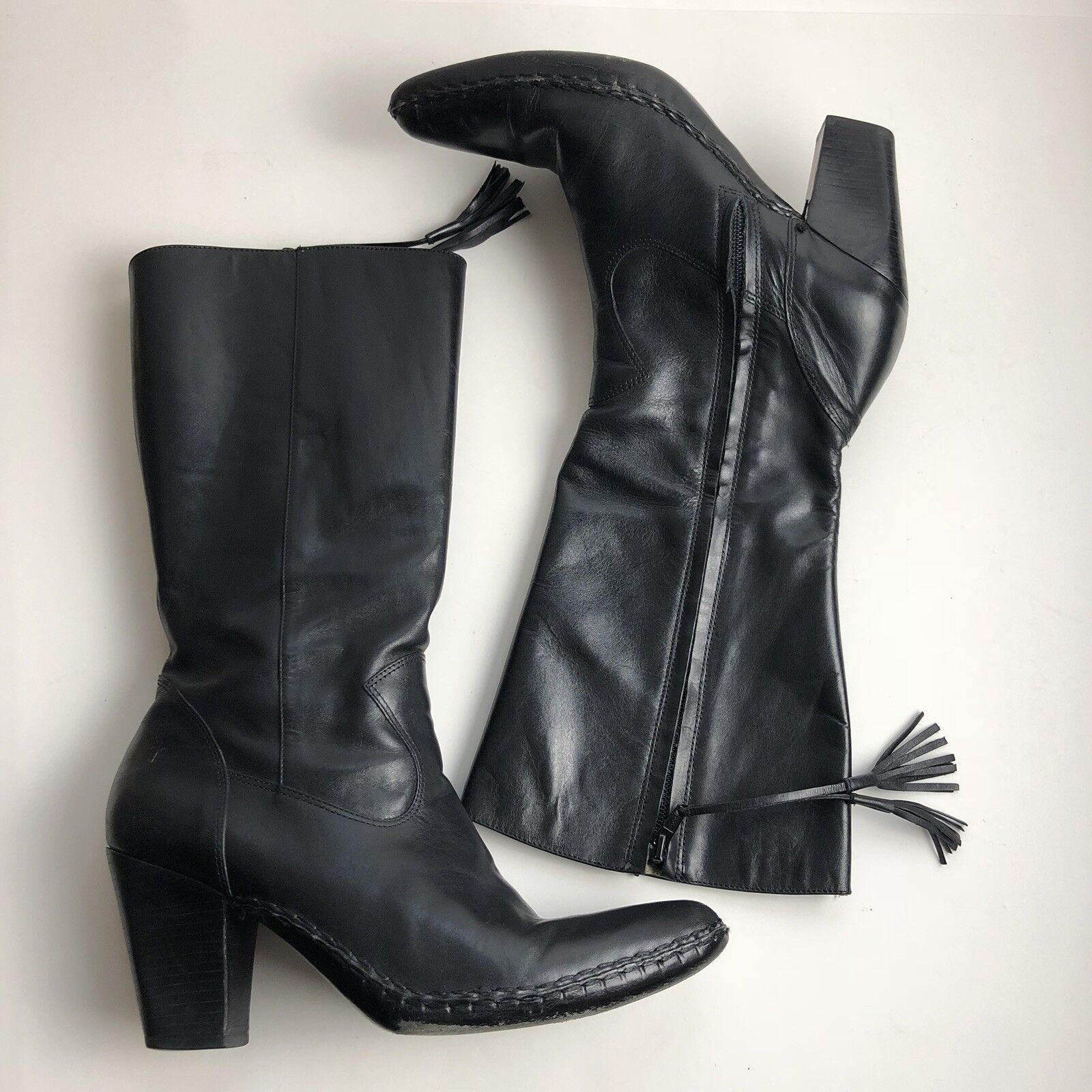 Frye Womens Boots Size 8.5 Black Leather Pointed Toe Zip Zip Zip Up Tassel Accent 786253