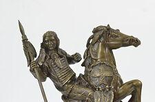 Native American Indian Art Chief Horse Warrior Bronze Marble Statue Sculpture Sa