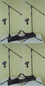 4-x-Mikrofonstaender-ECO-mit-Mikrofonklemme-und-Tasche-ADAM-HALL-Mikrofon-Stativ