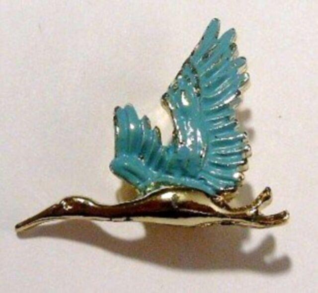broche rétro bijou vintage oiseau en vol peinture émail couleur bleu 3465