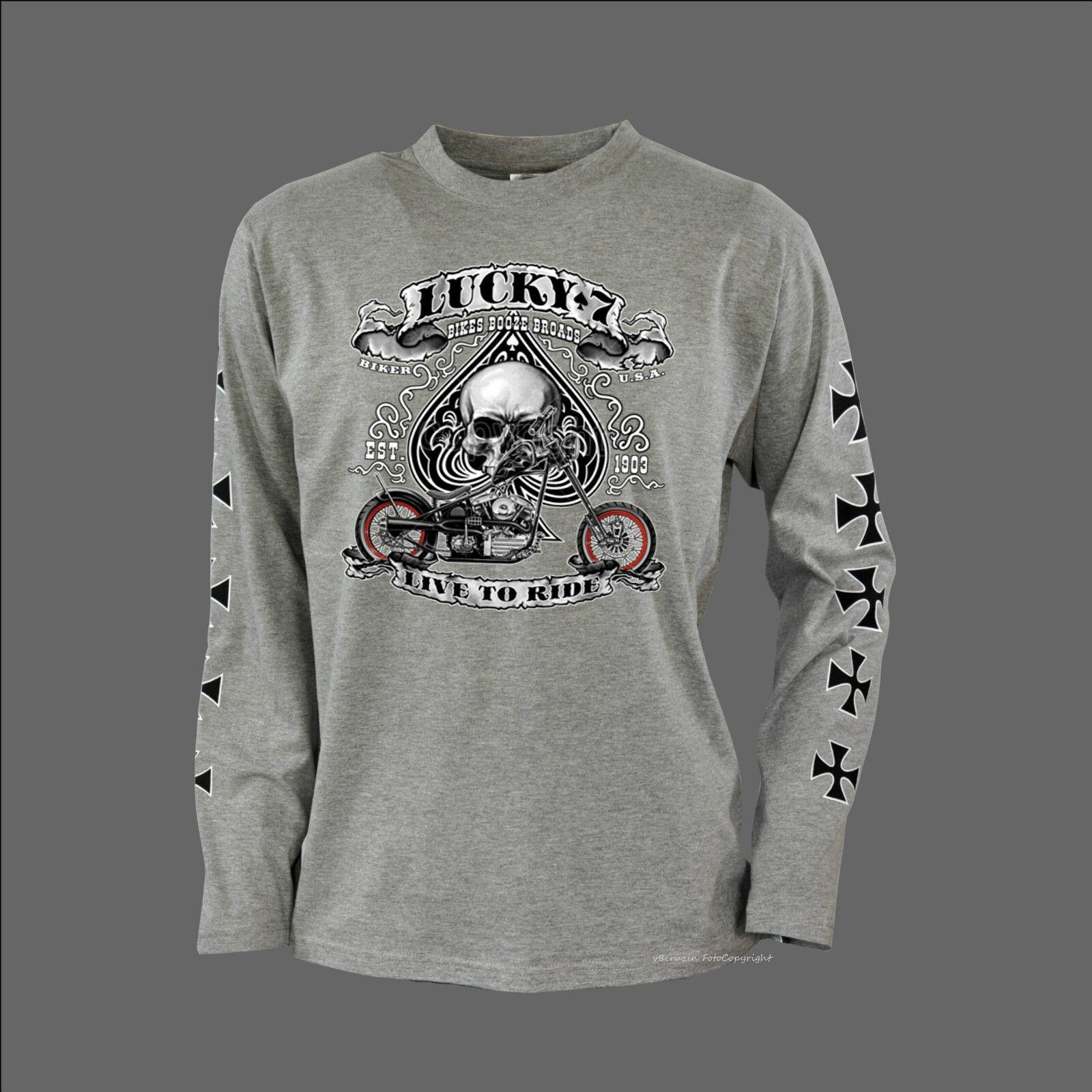 Biker T-Shirt with Arm Print Chopper Skull Motorcycle 4240 Ls